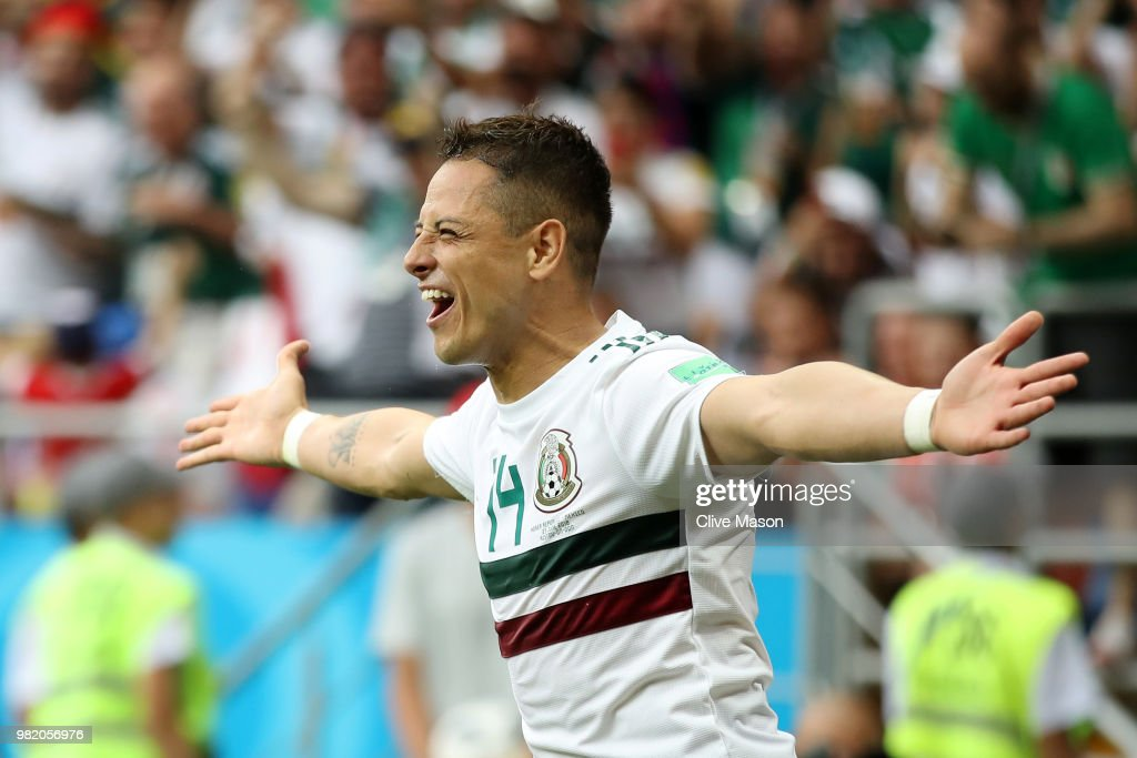 Javier Hernandez of Mexico celebrates after scoring his team's second goal during the 2018 FIFA World Cup Russia group F match between Korea Republic and Mexico at Rostov Arena on June 23, 2018 in Rostov-on-Don, Russia.