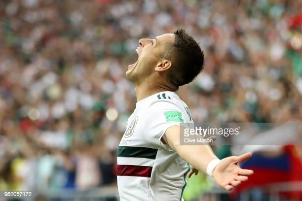 Javier Hernandez of Mexico celebrates after scoring his team's second goal during the 2018 FIFA World Cup Russia group F match between Korea Republic...