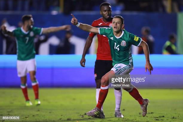Javier Hernandez of Mexico celebrates after scoring the second goal of his team during the match between Mexico and Trinidad Tobago as part of the...