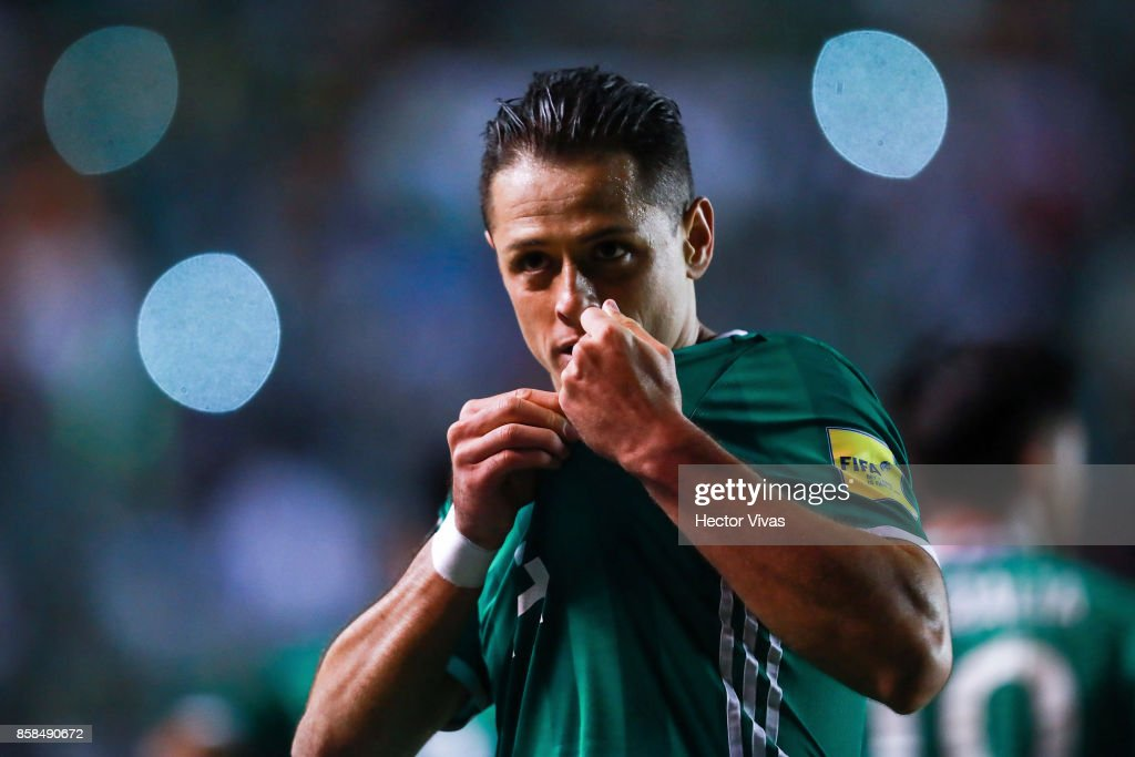 Javier Hernandez of Mexico celebrates after scoring the second goal of his team during the match between Mexico and Trinidad & Tobago as part of the FIFA 2018 World Cup Qualifiers at Alfonso Lastras Stadium on October 6, 2017 in San Luis Potosi, Mexico.