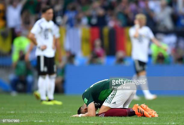 Javier Hernandez of Mexico celebrates following his sides victory in the 2018 FIFA World Cup Russia group F match between Germany and Mexico at...