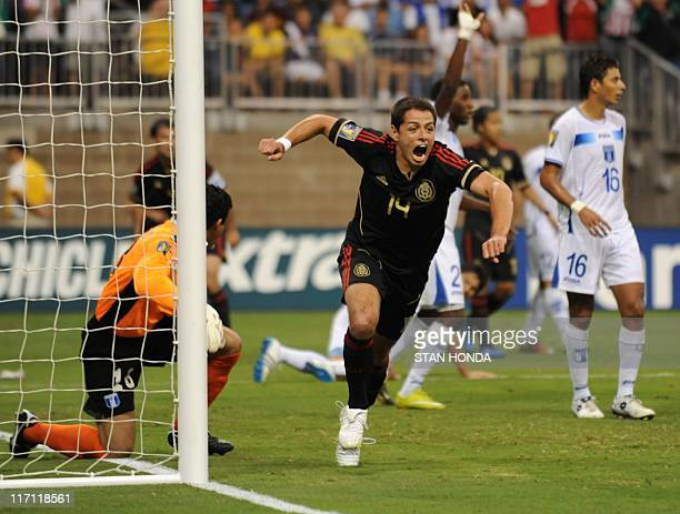 Javier Hernandez of Mexico celebrates his goal during the CONCACAF 2011 Gold Cup semifinal match Honduras against Mexico on June 22 2011 at Reliant...