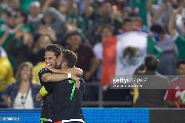Javier Hernandez of Mexico celebrates his goal with Miguel Layun during the friendly match between the Mexican national team and Chile national team...