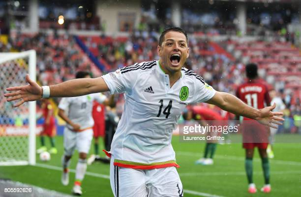 Javier Hernandez of Mexico celebrates his sides first goal during the FIFA Confederations Cup Russia 2017 PlayOff for Third Place between Portugal...
