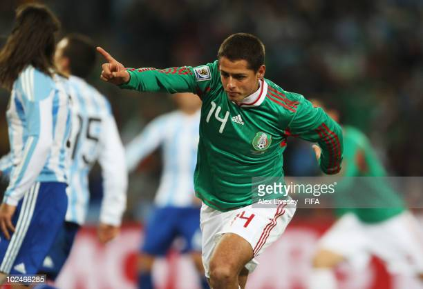 Javier Hernandez of Mexico celebrates scoring during the 2010 FIFA World Cup South Africa Round of Sixteen match between Argentina and Mexico at...