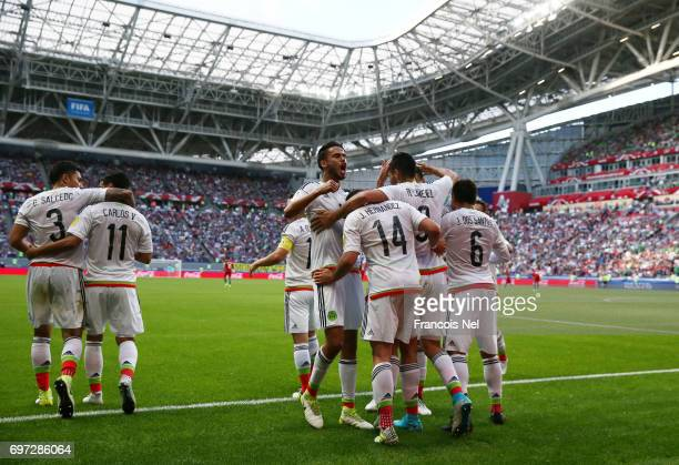 Javier Hernandez of Mexico celebrates scoring his sides first goal with his Mexico team mates during the FIFA Confederations Cup Russia 2017 Group A...