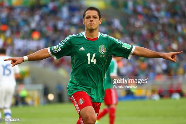 Javier Hernandez of Mexico celebrates scoring his team's first goal from a penalty kick to make the score 11 during the FIFA Confederations Cup...