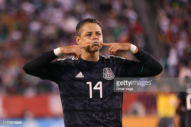 Javier Hernandez of Mexico celebrates the first goal of his team during the international friendly match between Mexico and USA at MetLife Stadium on...
