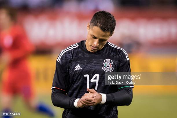 Javier Hernandez of Mexico claps at the effort toward the gaol during the second half of the Friendly match between the United States Men's National...
