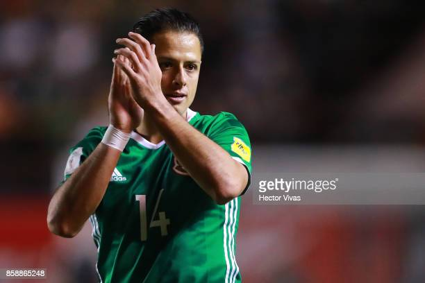 Javier Hernandez of Mexico claps during the match between Mexico and Trinidad Tobago as part of the FIFA 2018 World Cup Qualifiers at Alfonso Lastras...