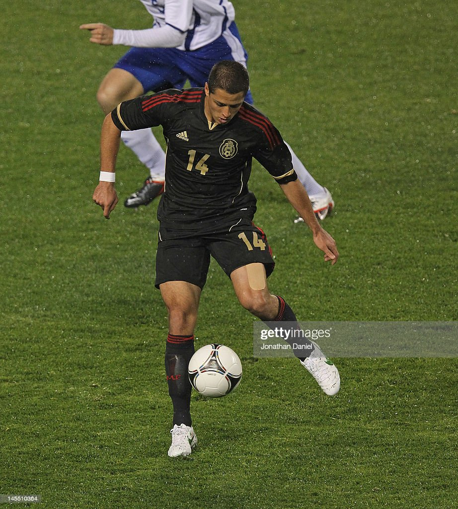 Javier Hernandez #14 of Mexico controls the ball against Bosnia-Herzegovina during an international friendly at Soldier Field on May 31, 2012 in Chicago, Illinois. Mexico defeated Bosnia-Herzegovina 2-1.