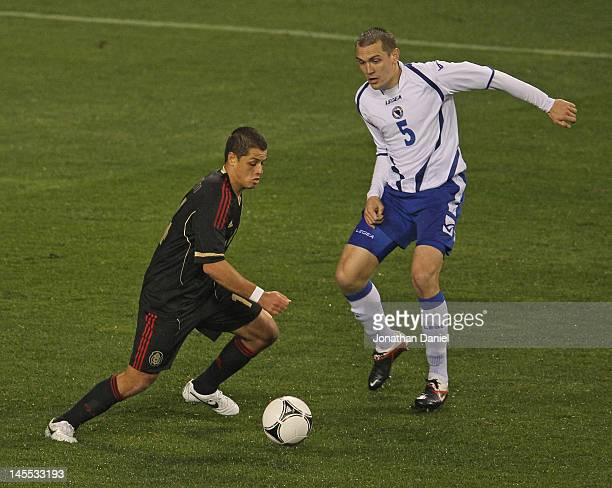 Javier Hernandez of Mexico controls the ball in front of Boris Pandza BosniaHerzegovina during an international friendly at Soldier Field on May 31...