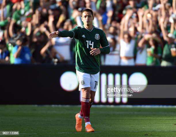 Javier Hernandez of Mexico in action against Wales during the first half of their friendly international soccer match at the Rose Bowl on May 28 2018...