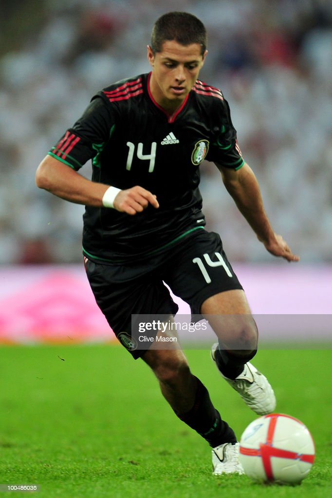 Javier Hernandez of Mexico in action during the International Friendly match between England and Mexico at Wembley Stadium on May 24, 2010 in London, England.