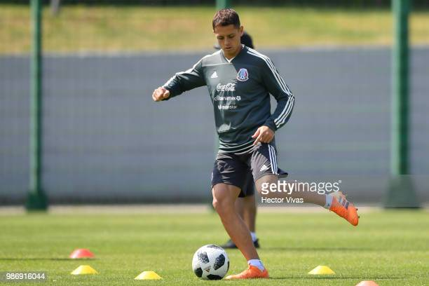 Javier Hernandez of Mexico kicks the ball during a training at Training Base NovogorskDynamo on June 29 2018 in Moscow Russia