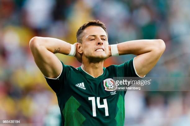Javier Hernandez of Mexico looks dejected during the 2018 FIFA World Cup Russia group F match between Mexico and Sweden at Ekaterinburg Arena on June...