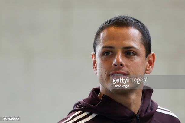Javier Hernandez of Mexico looks on prior the Mexico National Team training session at Avaya Stadium on March 20 2018 in San Jose California