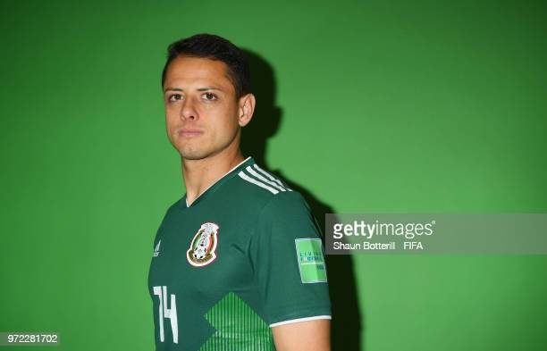 Javier Hernandez of Mexico poses for a portrait during the official FIFA World Cup 2018 portrait session at the team hotel on June 12 2018 in Moscow...