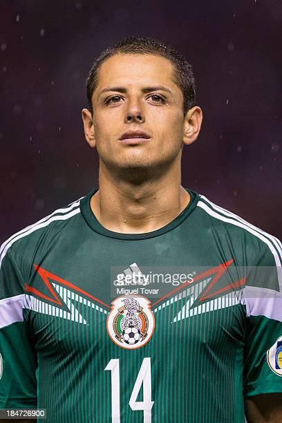 Javier Hernandez of Mexico poses prior a match between Costa Rica and Mexico as part of the CONCACAF Qualifiers at National Stadium on October 15...