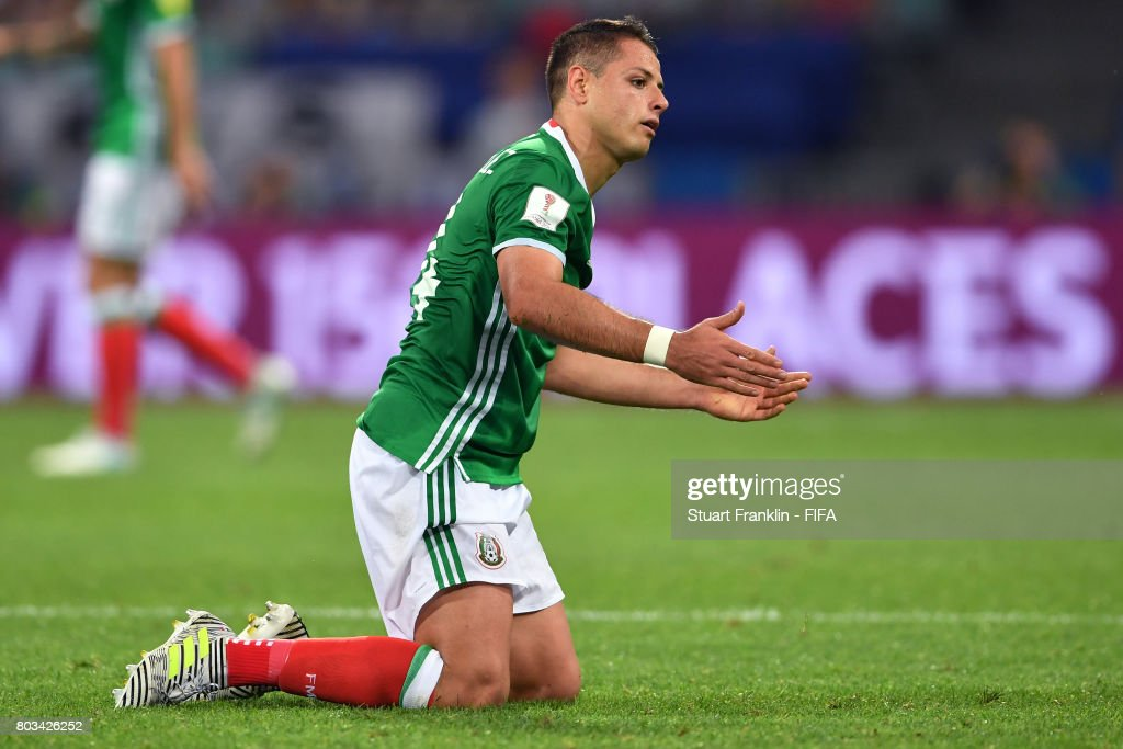 Javier Hernandez of Mexico reacts after missing a chance during the FIFA Confederations Cup Russia 2017 Semi-Final between Germany and Mexico at Fisht Olympic Stadium on June 29, 2017 in Sochi, Russia.