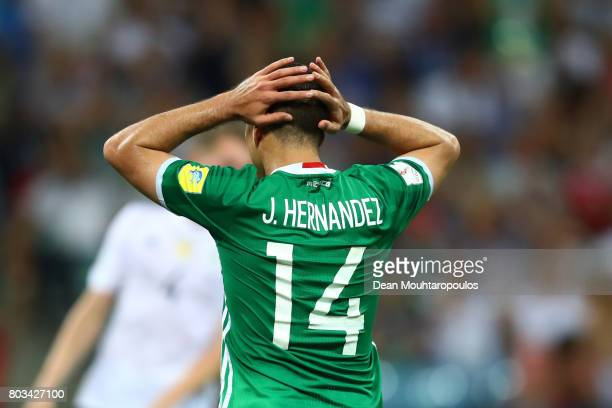 Javier Hernandez of Mexico reacts after missing a chance during the FIFA Confederations Cup Russia 2017 SemiFinal between Germany and Mexico at Fisht...