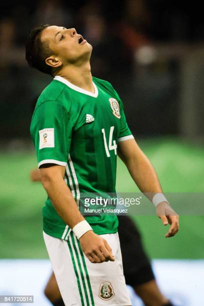Javier Hernandez of Mexico reacts after missing a chance of goal during the match between Mexico and Panama as part of the FIFA 2018 World Cup...