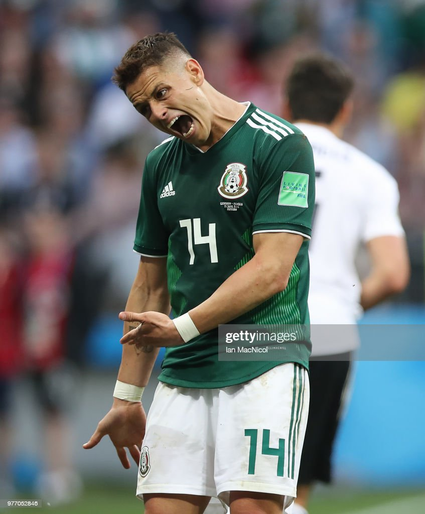 Javier Hernandez of Mexico reacts during the 2018 FIFA World Cup Russia group F match between Germany and Mexico at Luzhniki Stadium on June 17, 2018 in Moscow, Russia.