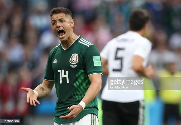 Javier Hernandez of Mexico reacts during the 2018 FIFA World Cup Russia group F match between Germany and Mexico at Luzhniki Stadium on June 17 2018...