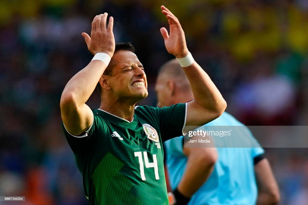 Javier Hernandez of Mexico reacts during the 2018 FIFA World Cup Russia group F match between Mexico and Sweden at Ekaterinburg Arena on June 27, 2018 in Yekaterinburg, Russia.