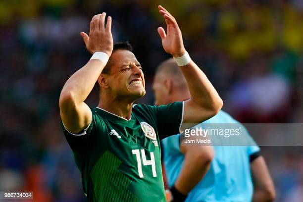 Javier Hernandez of Mexico reacts during the 2018 FIFA World Cup Russia group F match between Mexico and Sweden at Ekaterinburg Arena on June 27 2018...