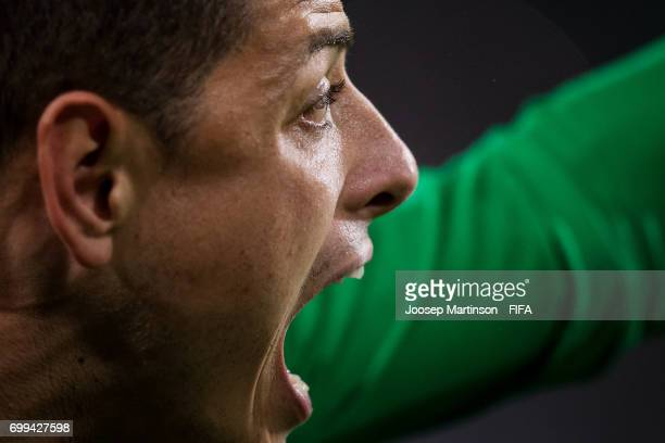 Javier Hernandez of Mexico reacts during the FIFA Confederations Cup Russia 2017 group A football match between Mexico and New Zealand at Fisht...
