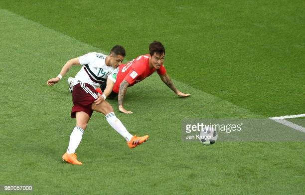 Javier Hernandez of Mexico scores his team's second goal during the 2018 FIFA World Cup Russia group F match between Korea Republic and Mexico at...