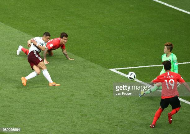 Javier Hernandez of Mexico scores past Cho HyunWoo of Korea Republic his team's second goal during the 2018 FIFA World Cup Russia group F match...