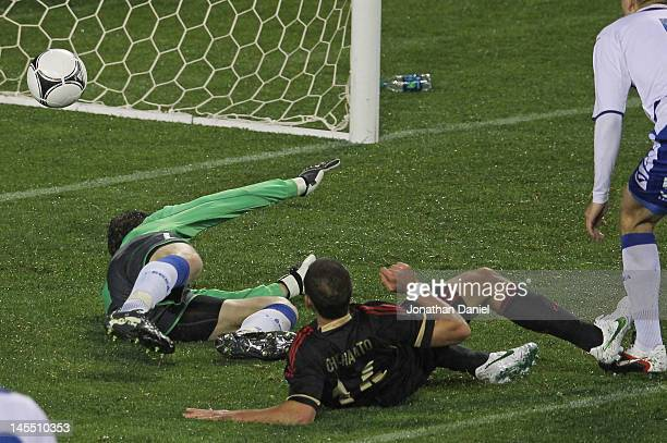 Javier Hernandez of Mexico scores the gamewinning goal past Asmir Begovic of BosniaHerzegovina during an international friendly at Soldier Field on...