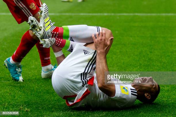 Javier Hernandez of Mexico screams after being fouled during the FIFA Confederations Cup Russia 2017 group A football match between Mexico and Russia...