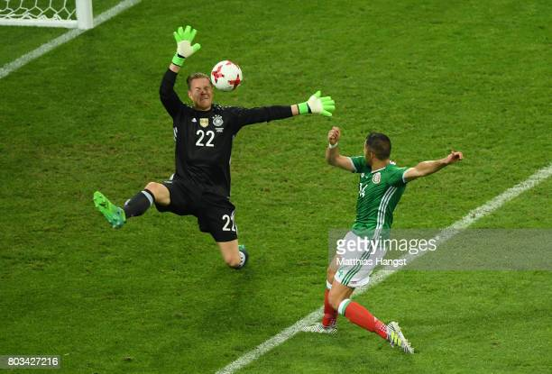 Javier Hernandez of Mexico shoots at goal during the FIFA Confederations Cup Russia 2017 SemiFinal between Germany and Mexico at Fisht Olympic...