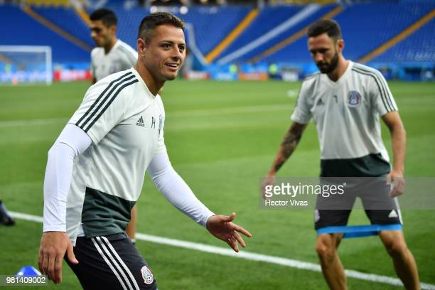 Javier Hernandez of Mexico warms up during a training session ahead of the match against Korea as part of FIFA World Cup Russia 2018 at Rostov Arena...