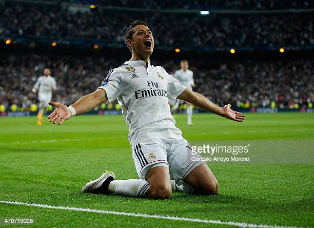 Javier Hernandez of Real Madrid CF celebrates as he scores their first goal during the UEFA Champions League quarter-final second leg match between...