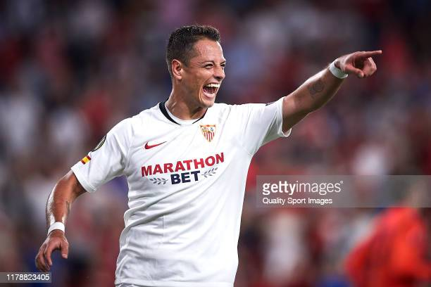 Javier Hernandez of Sevilla FC celebrates scoring his team's opening goal during the UEFA Europa League group A match between Sevilla FC and APOEL...