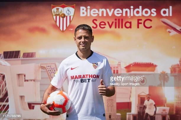 Javier Hernandez of Sevilla FC poses during his unveiling at Estadio Ramon Sanchez Pizjuan on September 02 2019 in Seville Spain