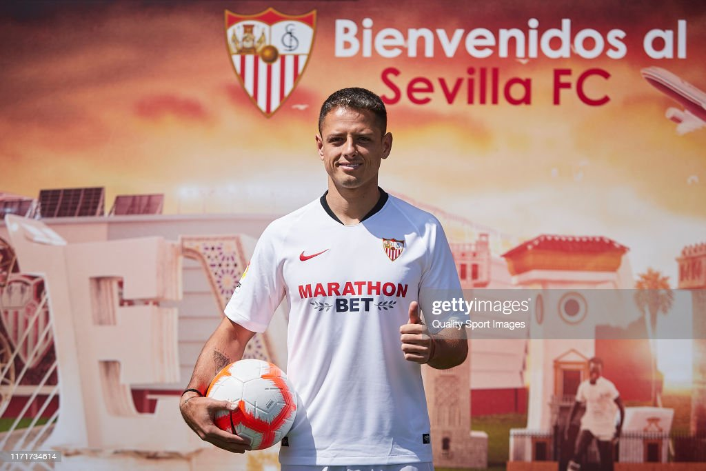 Sevilla CF Unveil New Player Javier Hernandez : News Photo