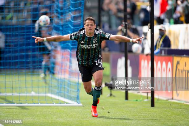 Javier Hernandez of the Los Angeles Galaxy scores a goal and celebrates during a game between New York Red Bulls and Los Angeles Galaxy at Dignity...