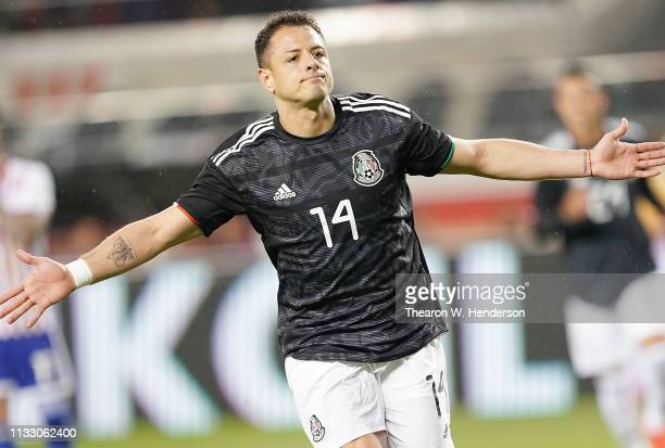 Javier Hernandez of the Mexico National team celebrates after he scored against Paraguay during the first half of their soccer game at Levi's Stadium...