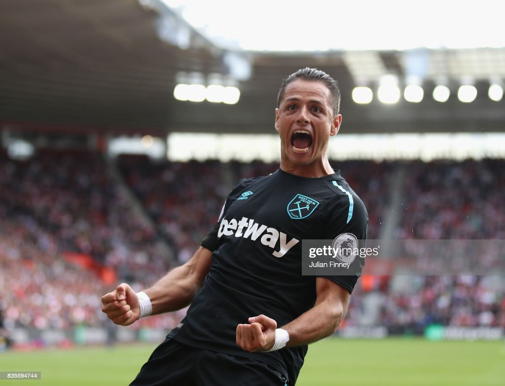 Javier Hernandez of West Ham celebrates scoring his teams second goal during the Premier League match between Southampton and West Ham United at St Mary's Stadium on August 19, 2017 in Southampton, England.