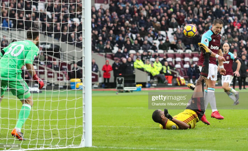 Javier (Chicharito) Hernandez of West Ham scores their 1st goal during the Premier League match between West Ham United and Watford at London Stadium on February 10, 2018 in London, England.