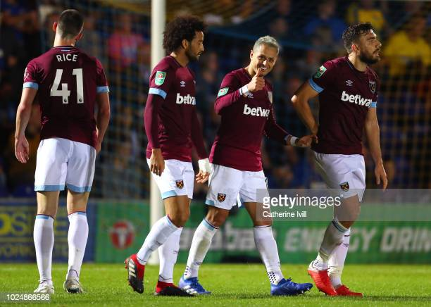 Javier Hernandez of West Ham United celebrates after scoring his team's third goal during the Carabao Cup Second Round match between AFC Wimbledon...