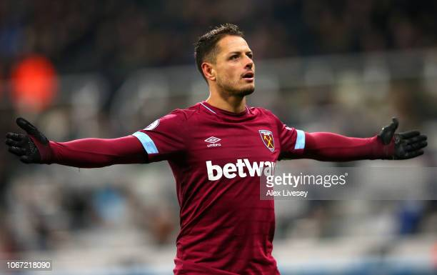 Javier Hernandez of West Ham United celebrates after scoring his team's second goal during the Premier League match between Newcastle United and West...