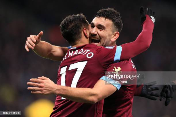 Javier Hernandez of West Ham United celebrates after scoring his team's second goal with Robert Snodgrass of West Ham United during the Premier...