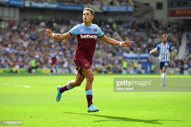 Javier Hernandez of West Ham United celebrates after scoring his team's first goal during the Premier League match between Brighton & Hove Albion and...