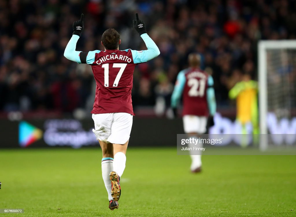 Javier Hernandez of West Ham United celebrates after scoring his sids first goal during the Premier League match between West Ham United and AFC Bournemouth at London Stadium on January 20, 2018 in London, England.